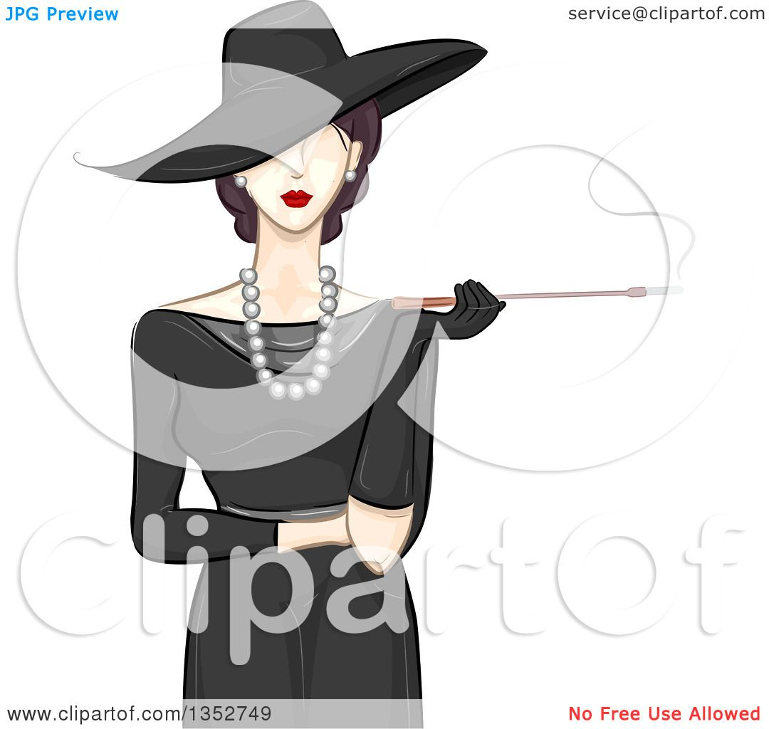 Clipart Of A Fashionable Woman In Vintage Style Hat And Dress Smoking Cigarette With Long Filter