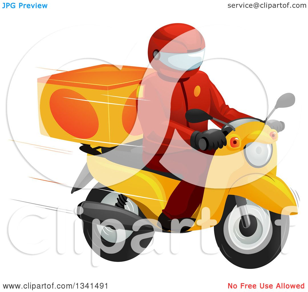 clipart of a fast food delivery driver on a motorcycle - royalty