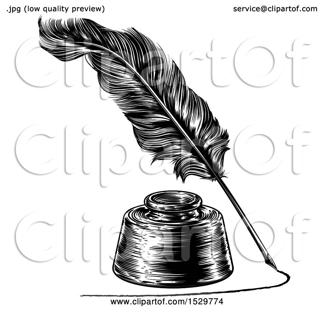 Line Drawing Of Quill : Clipart of a feather quill pen drawing line around an