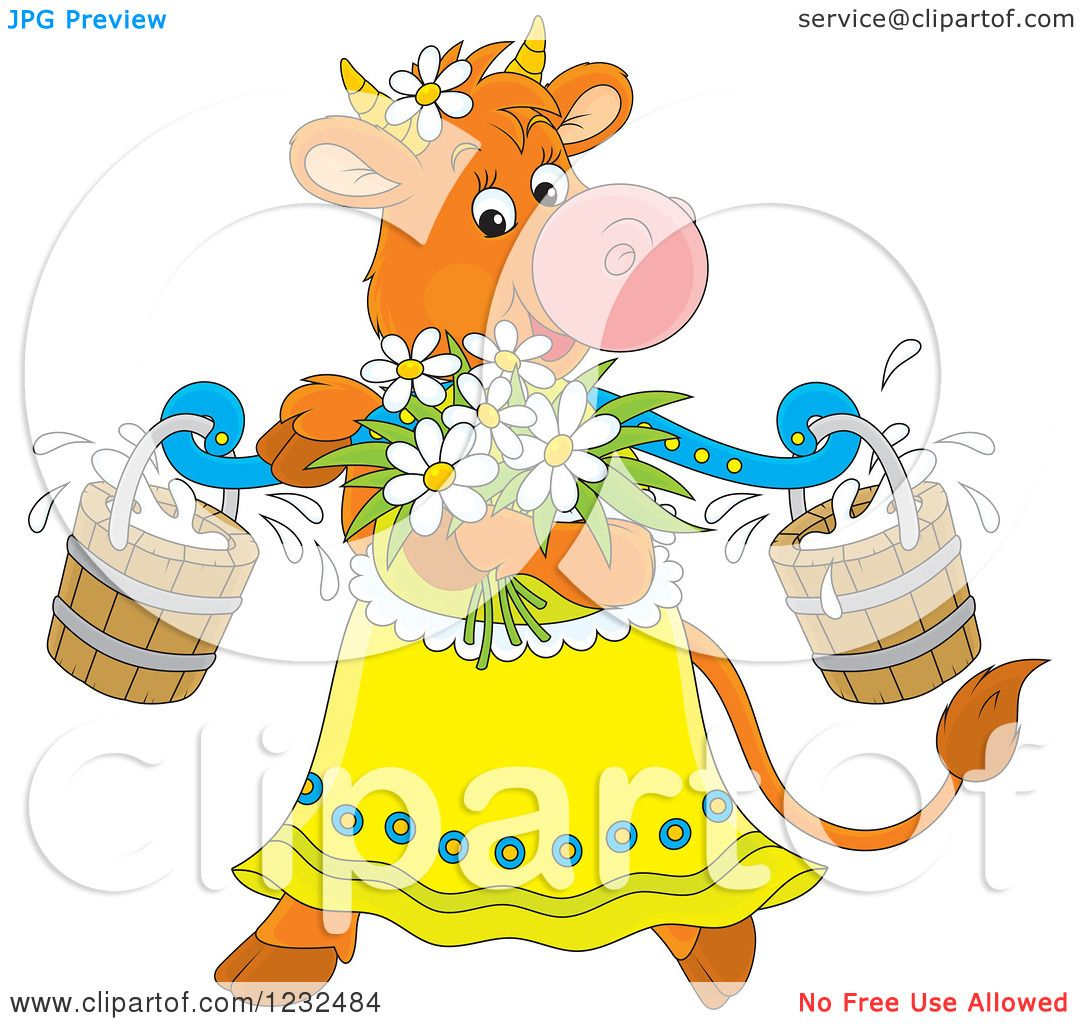 clipart of a female cow with flowers and milk buckets