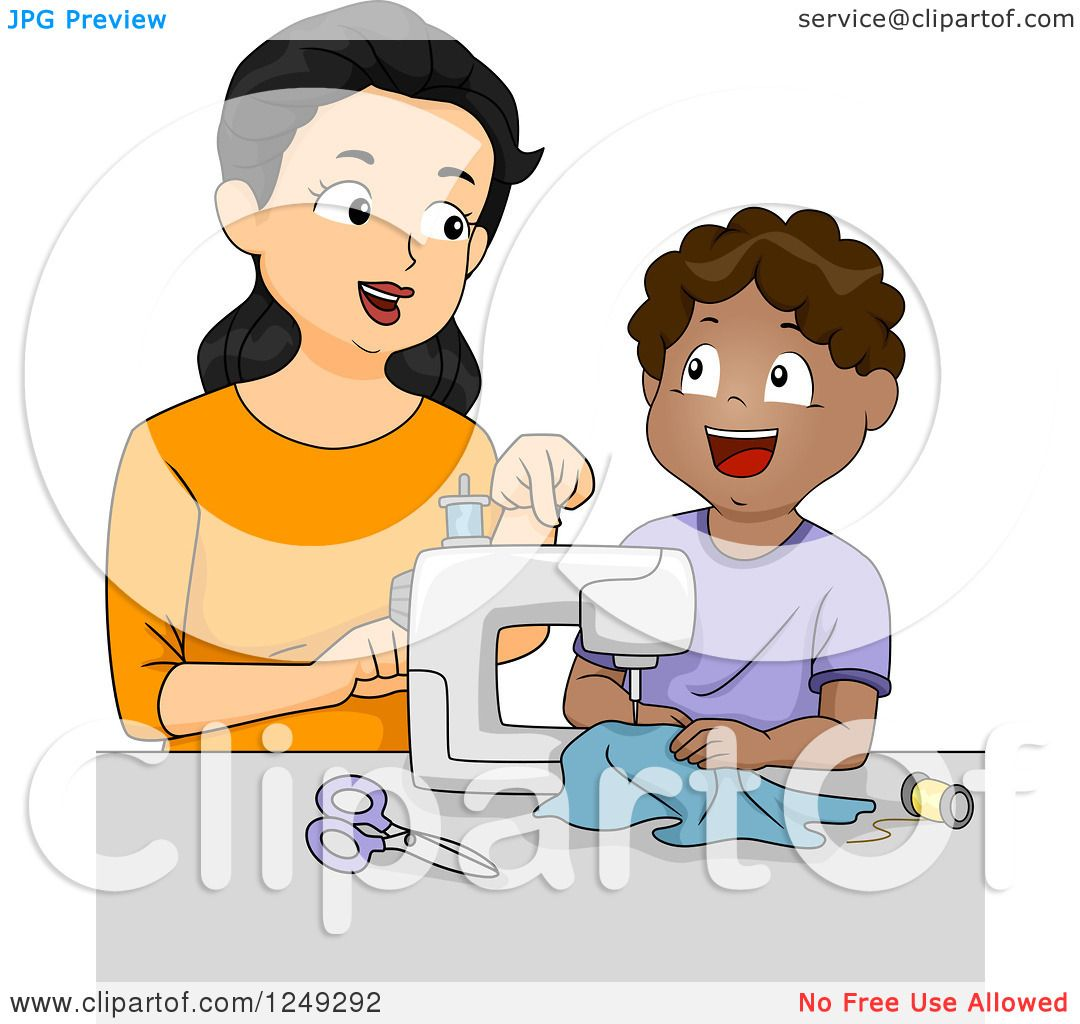 Clipart of a Female Home Economics Teacher Showing a Boy How to ...