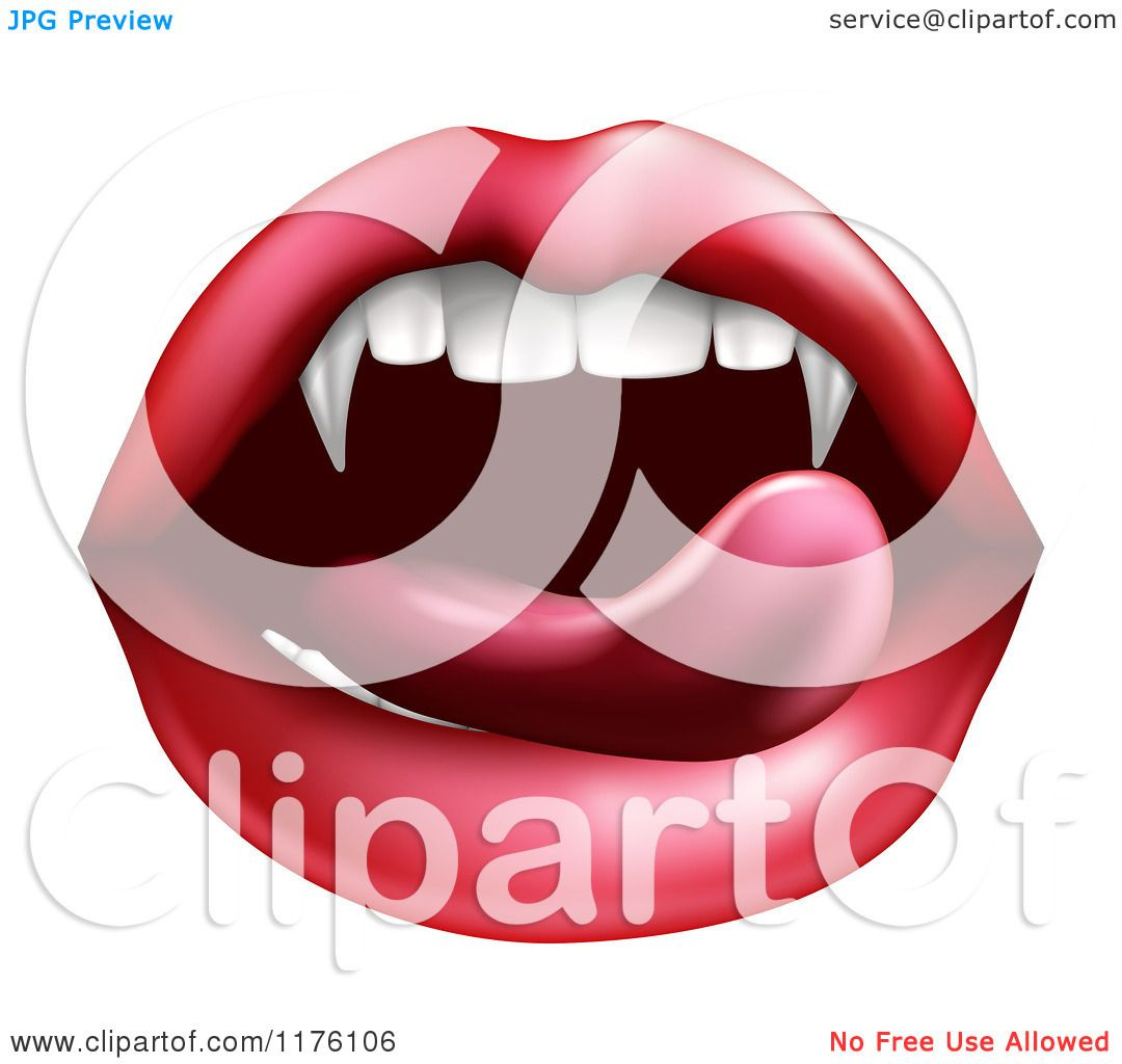 Clipart Of A Female Mouth With A Tongue Licking Vampire Fangs