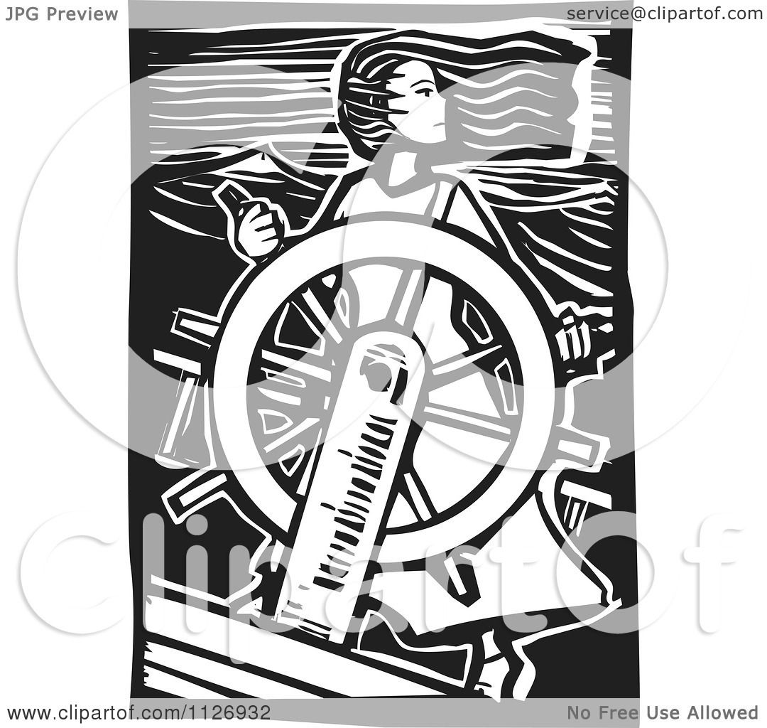 clipart of a female pirate at the helm black and white woodcut