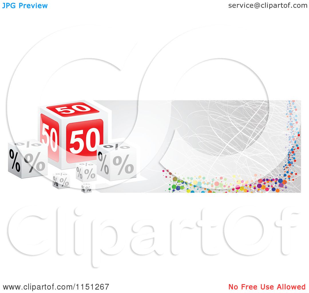 Clipart of a Fifty Percent off Cube Sales Website Banner - Royalty ...