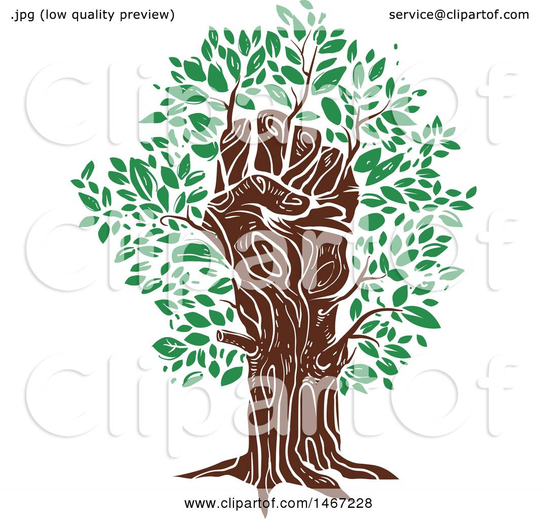 Clipart of a Fisted Hand Tree Trunk with Green Leaves ...
