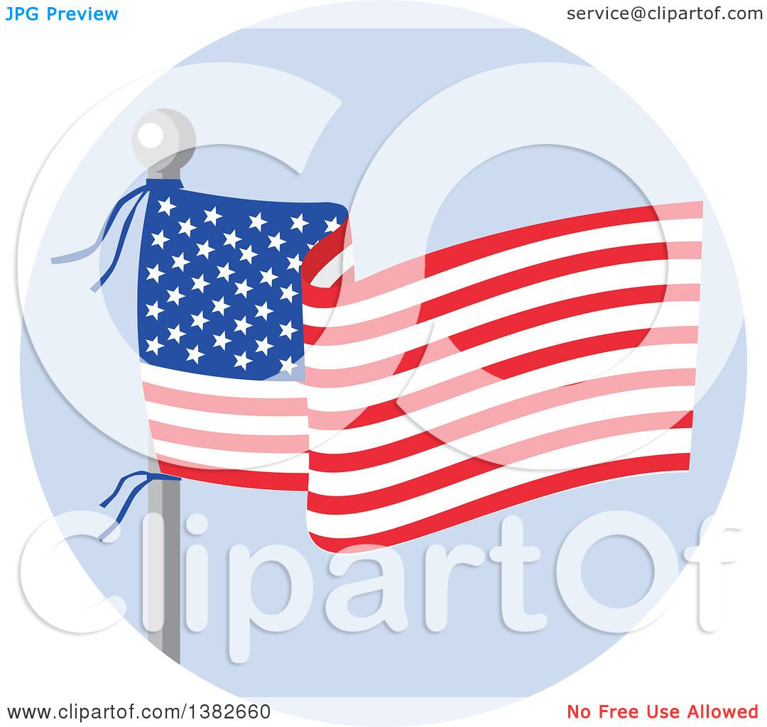 Clipart of a Flag Pole with a Waving American Banner over Blue ...