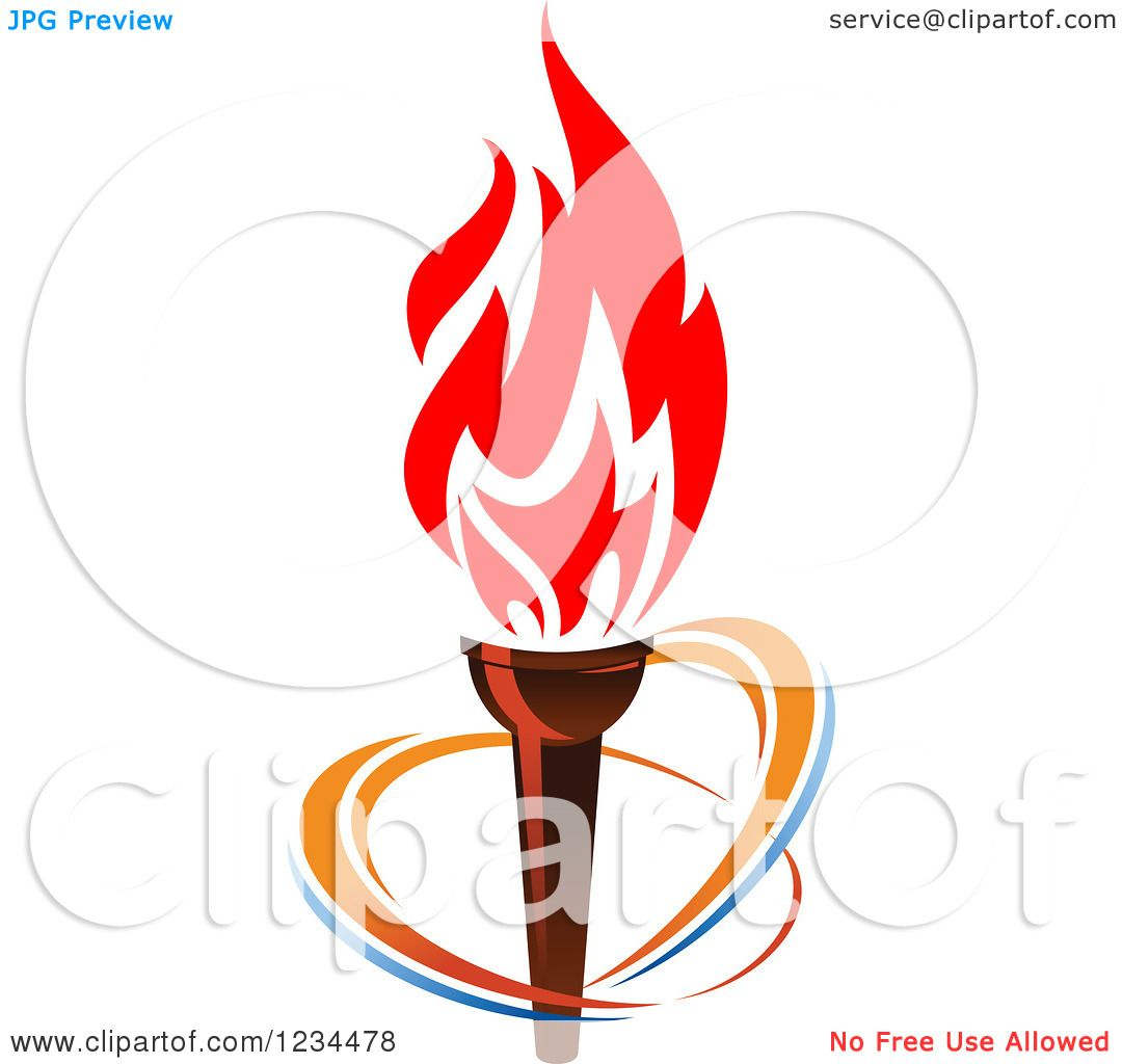 Clipart of a Flaming Torch and Rings 3 - Royalty Free Vector ...