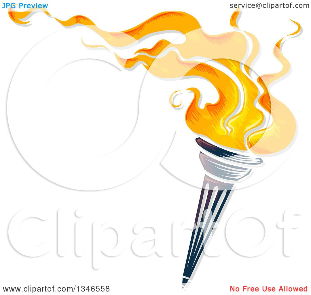 Clipart Of A Flaming Torch With Text Space Royalty Free Vector Illustration By BNP Design Studio
