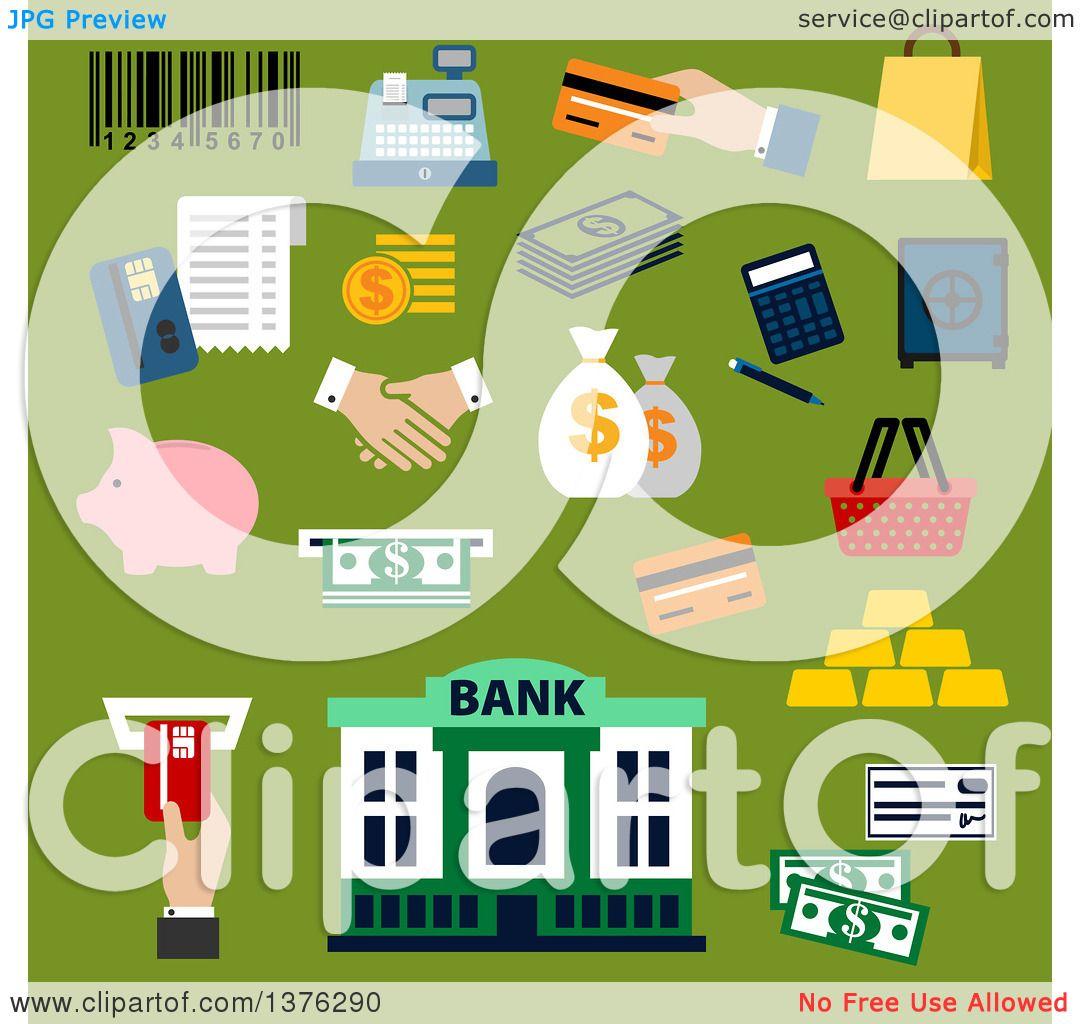 Paper bag building - Clipart Of A Flat Design Dollar Bills And Coins Credit Card Money Bags And Handshake Calculator Shopping Basket Paper Bag Piggy Bank Safe