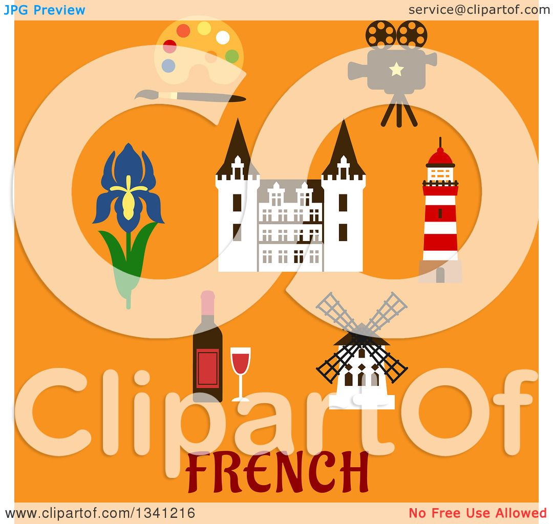 Clipart Of A Flat Design French Castle Encircled With Bottle Red Wine Glass Windmill Movie Projector Lighthouse Paint Palette