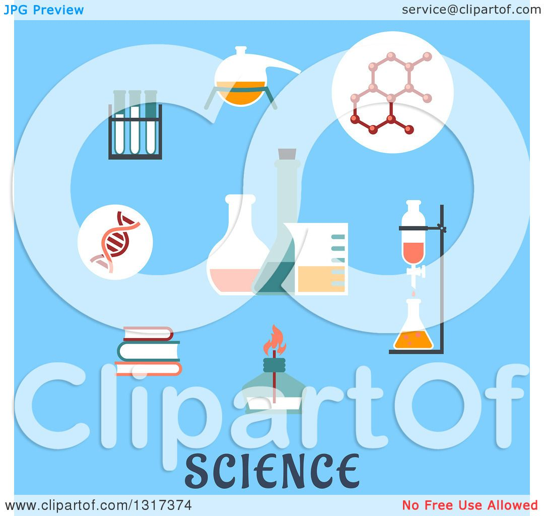Clipart Of A Flat Design Books Distillation Atomic Structure Experiments Flasks And Bunsen Burner Over Text On Blue