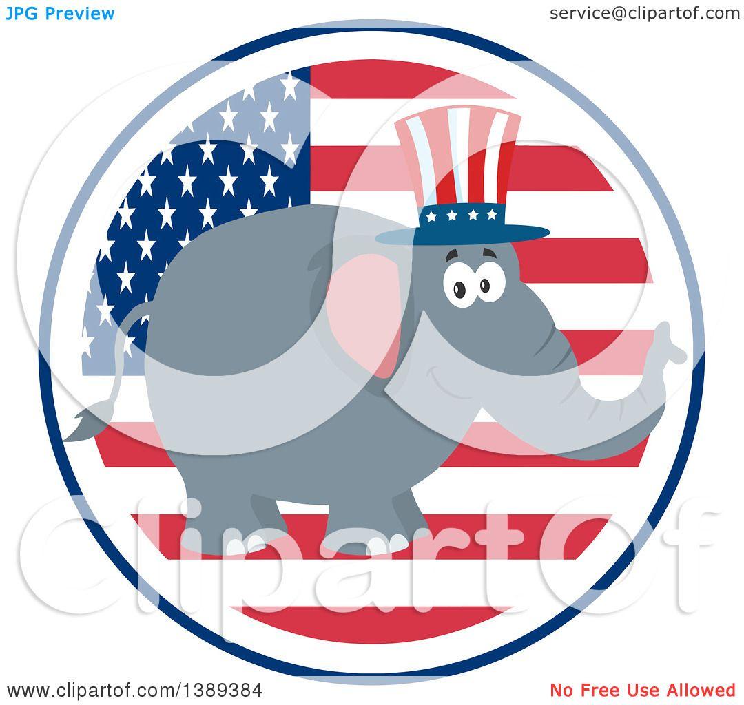 Clipart of a Flat Design Political Republican Elephant Wearing an ...
