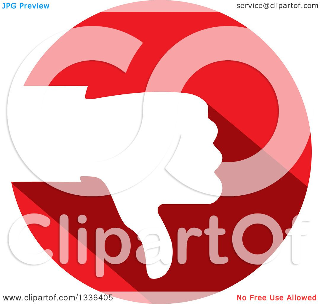 Clipart of a Flat Design White Silhouetted Thumb down Hand in a ...