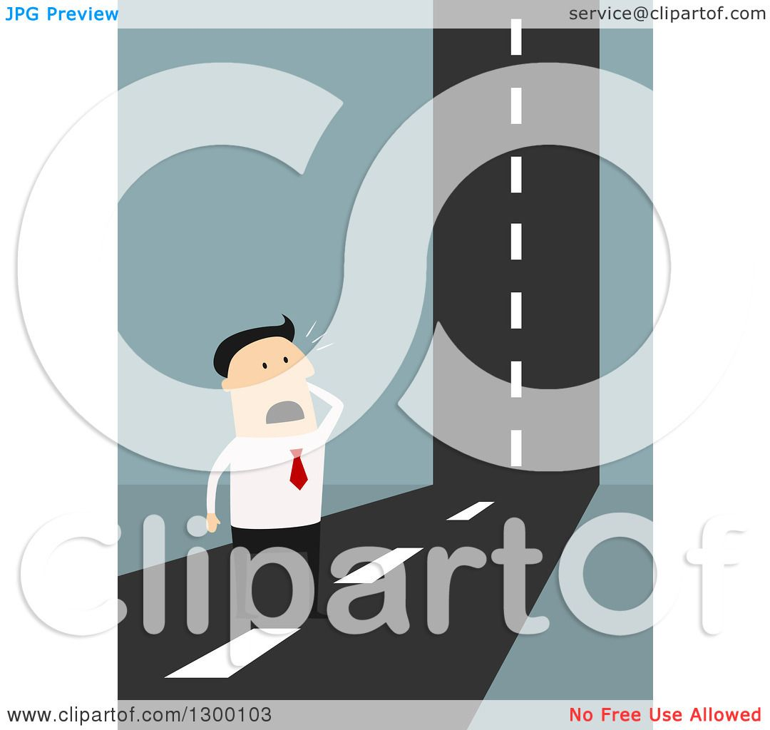 clipart of a flat modern white businessman stuck at a road. Black Bedroom Furniture Sets. Home Design Ideas