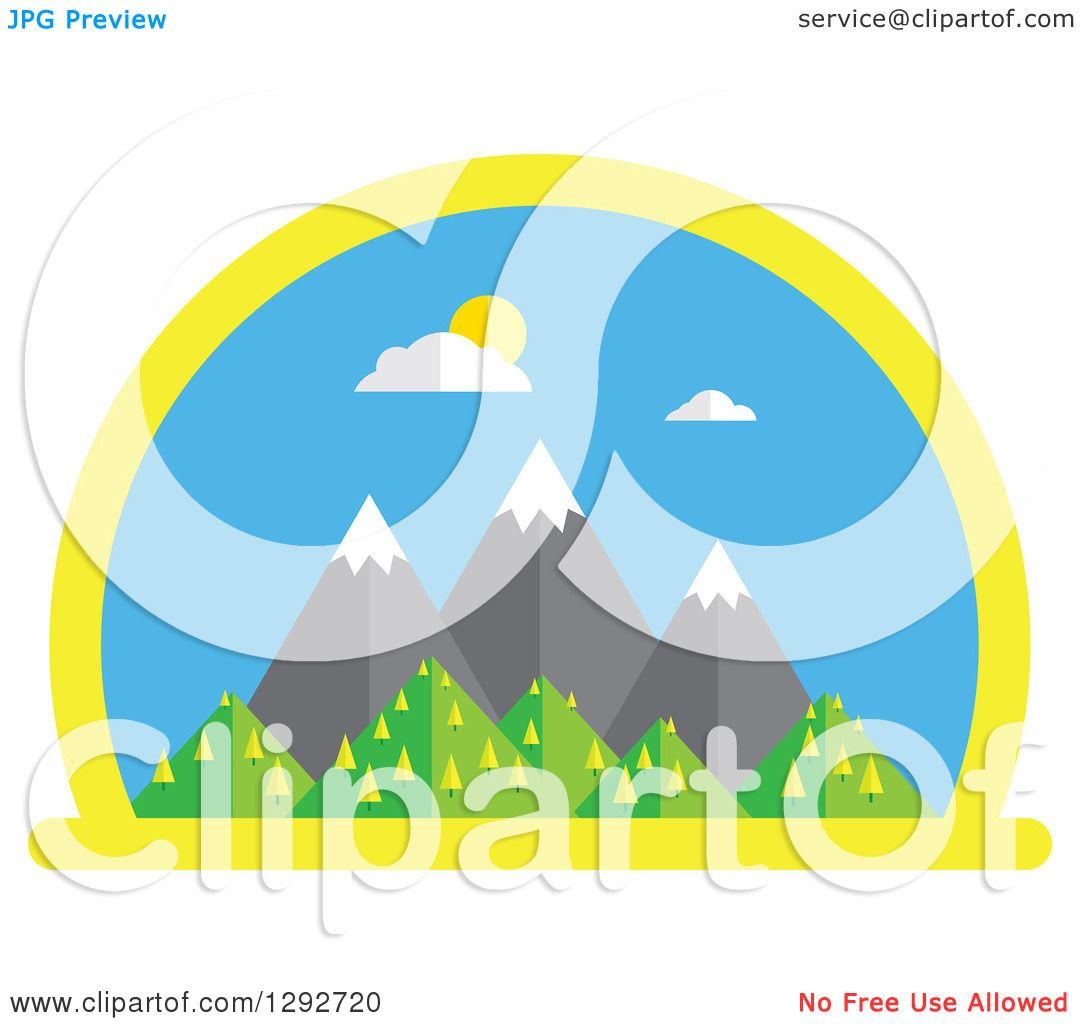 clipart of a flat styled arched scene of snow capped mountains and rh clipartof com free snow scene clipart snow scene background clipart