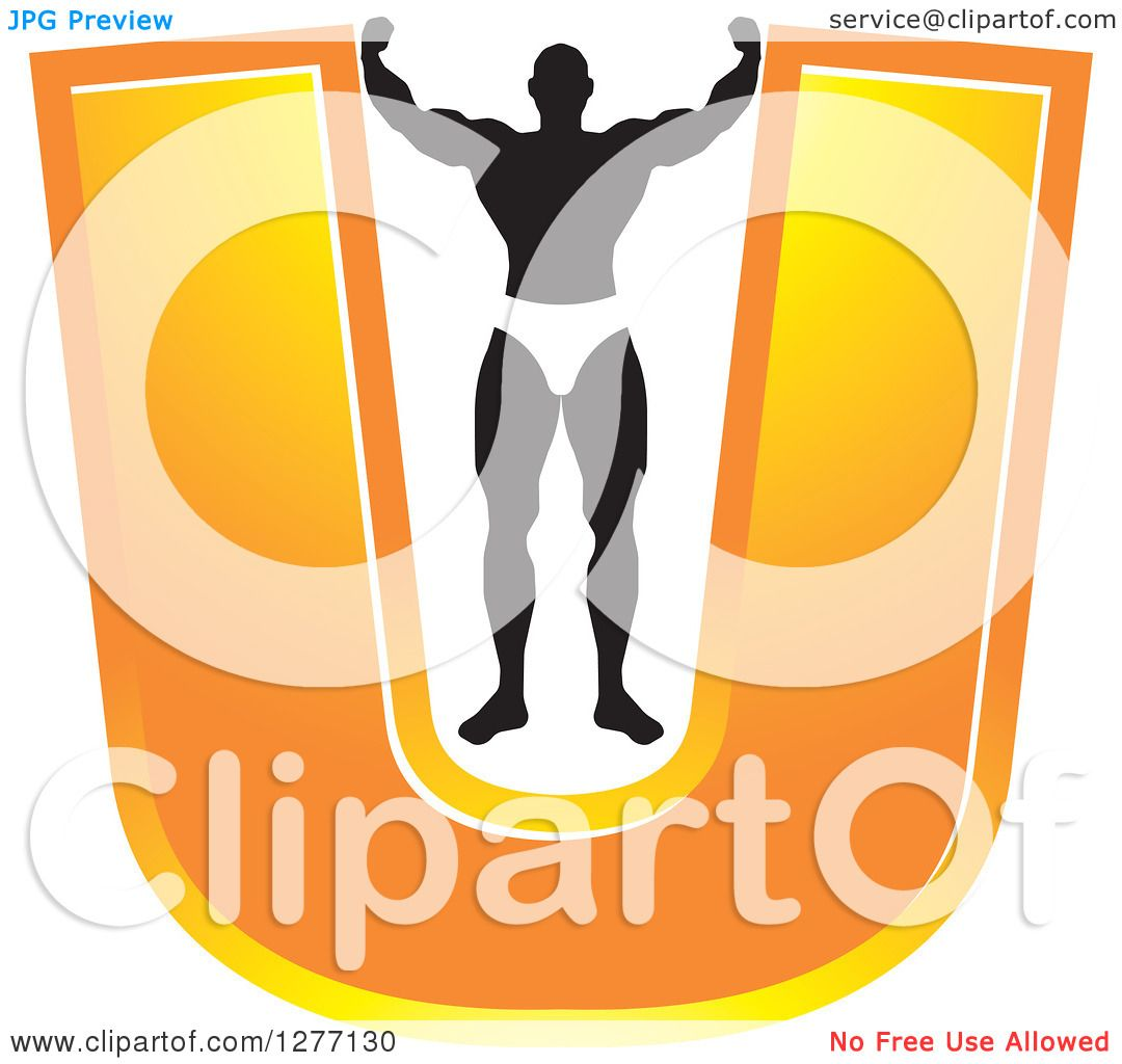 Clipart Of A Flexing Black And White Male Bodybuilder Stretching Out
