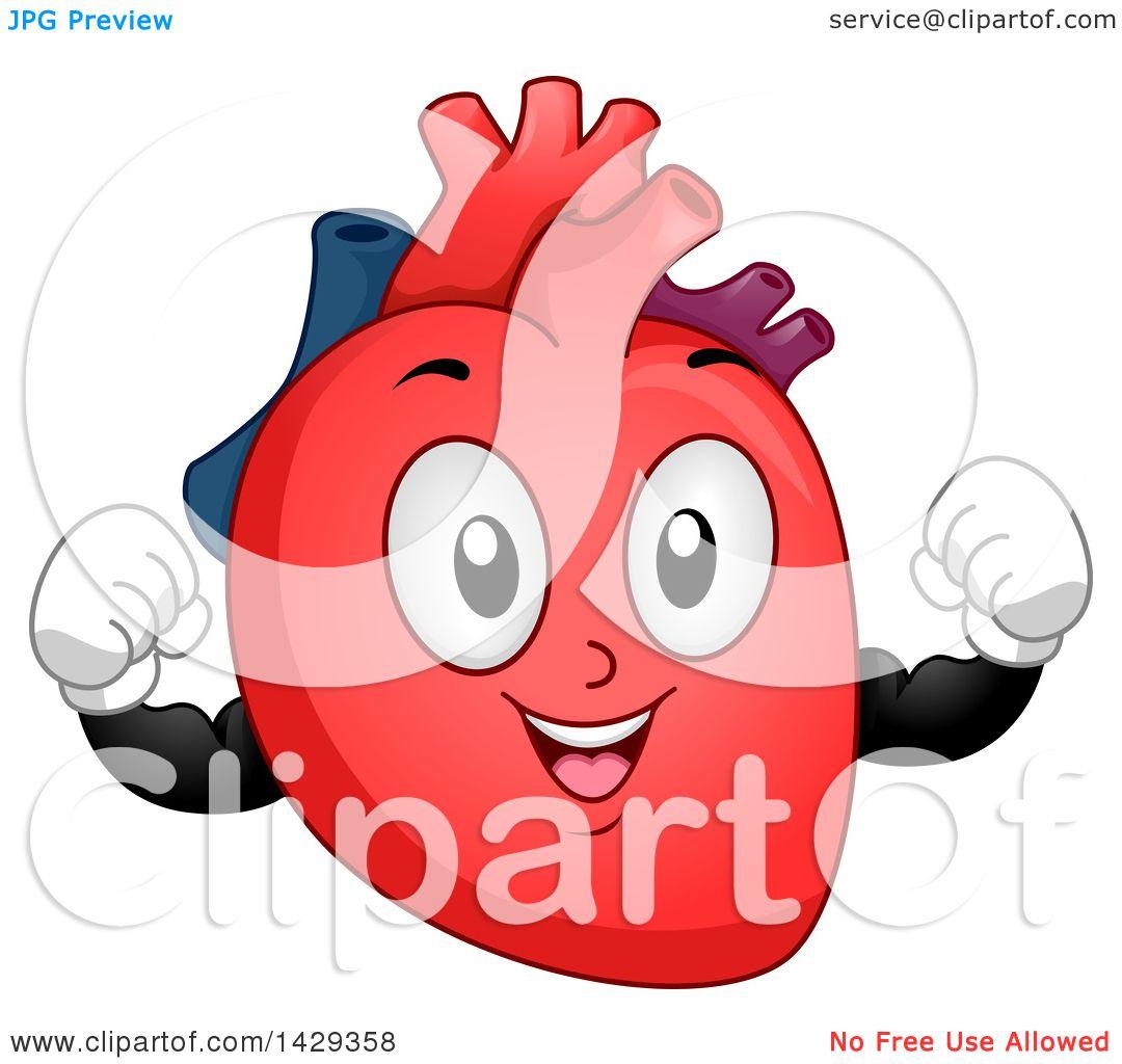 Clipart of a Flexing Heart Organ Mascot - Royalty Free ...
