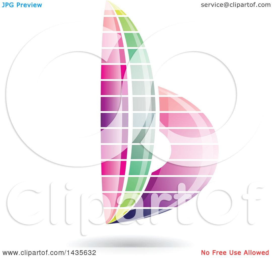 Clipart Of A Floating Abstract Striped Lowercase Letter B With A