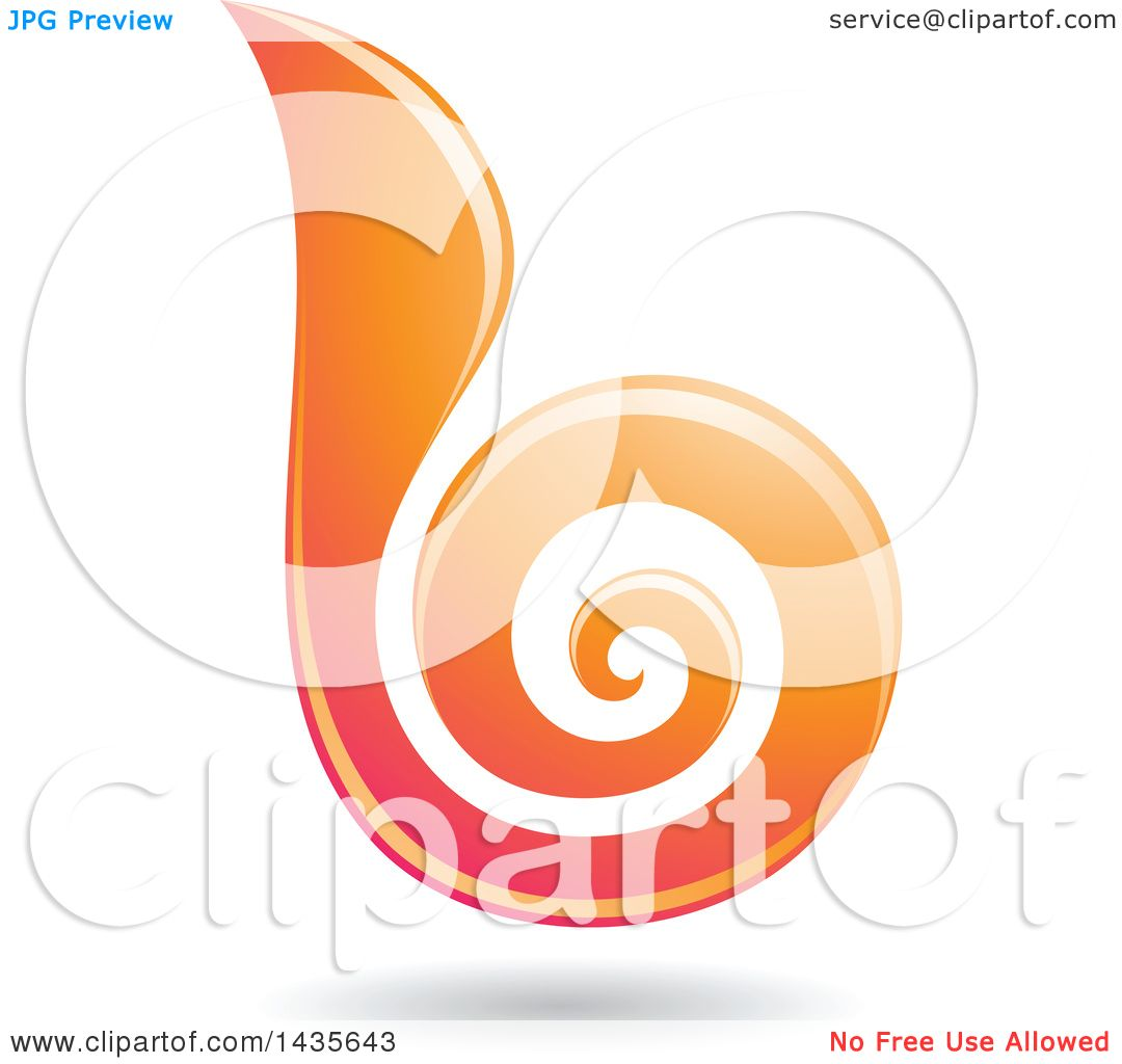 Clipart Of A Floating Abstract Swirl Lowercase Letter B With A