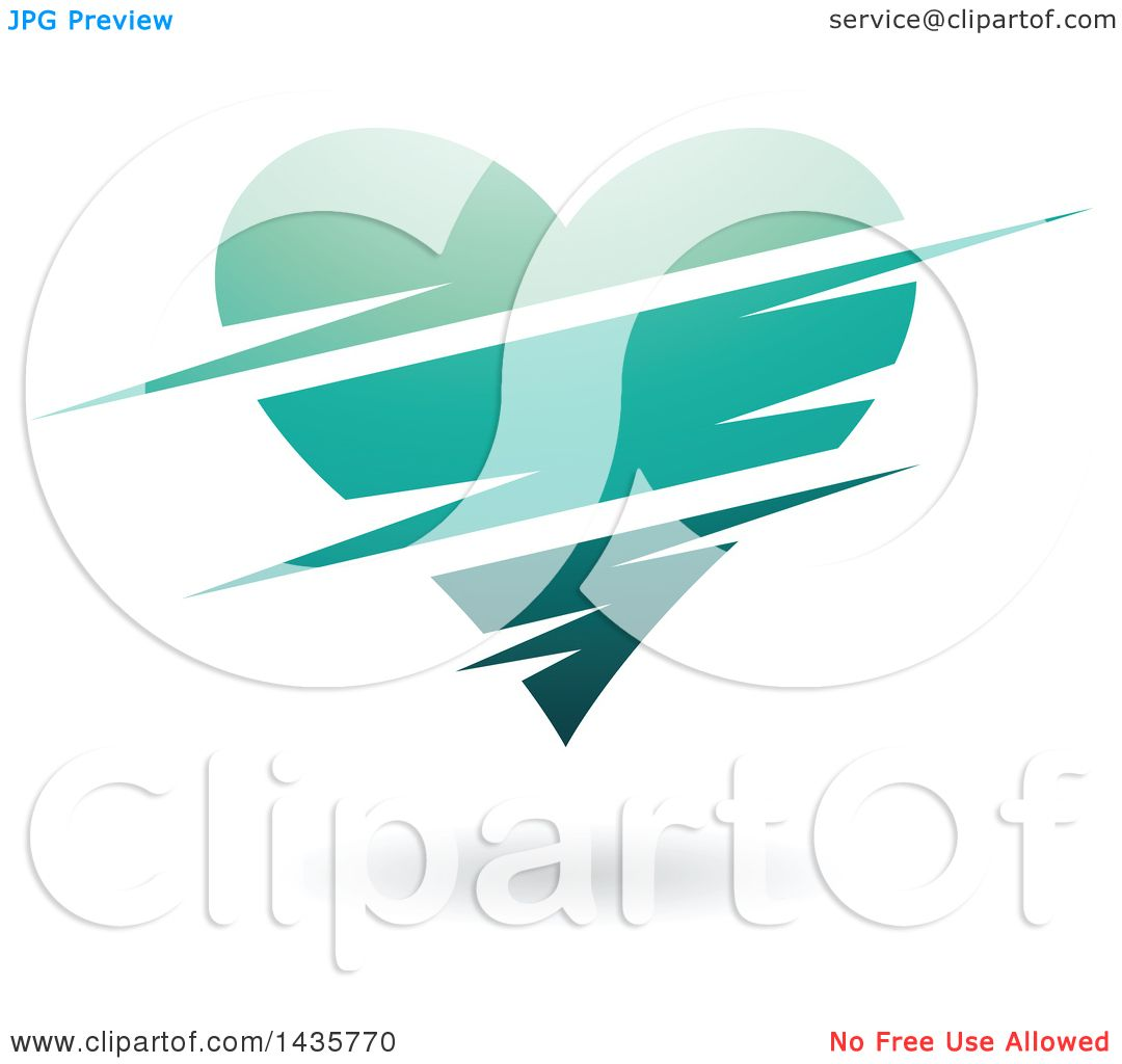 clipart of a floating turquoise heart with slits royalty