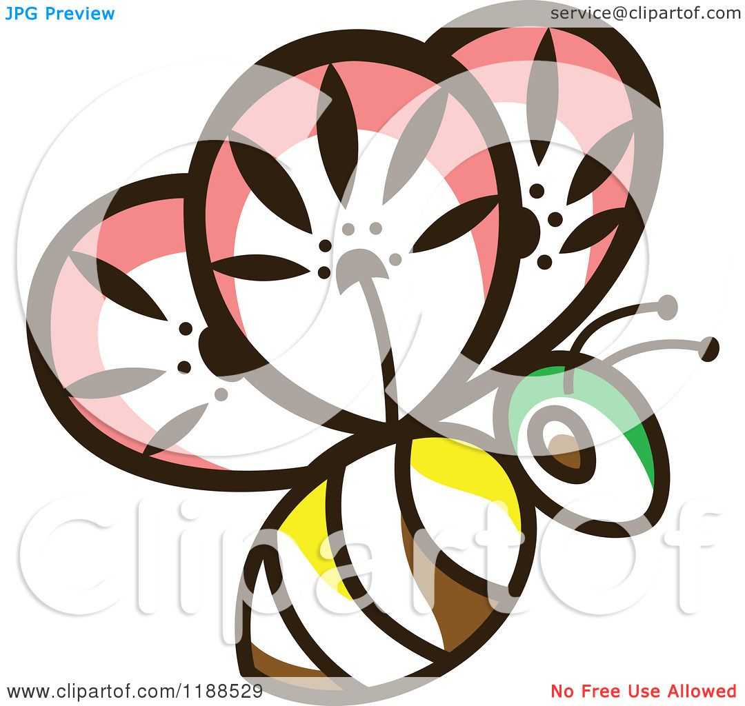 f3d7f96d524 Clipart of a Floral Bee - Royalty Free Vector Illustration by Cherie Reve