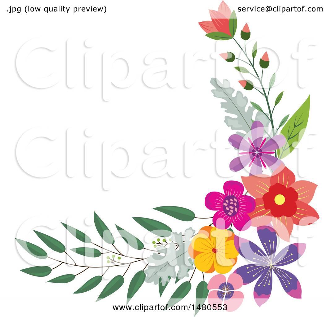 Clipart of a Floral Bouquet Border Design Element - Royalty Free ...