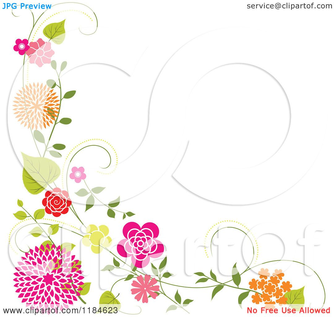 Clipart of a floral corner border with orange and pink flowers and clipart of a floral corner border with orange and pink flowers and vines royalty free vector illustration by dero mightylinksfo Choice Image