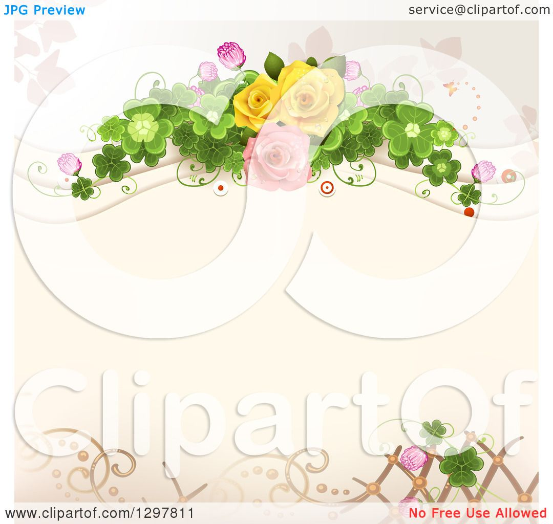 Clipart Of A Floral Rose Wedding Background With Shamrock Clovers