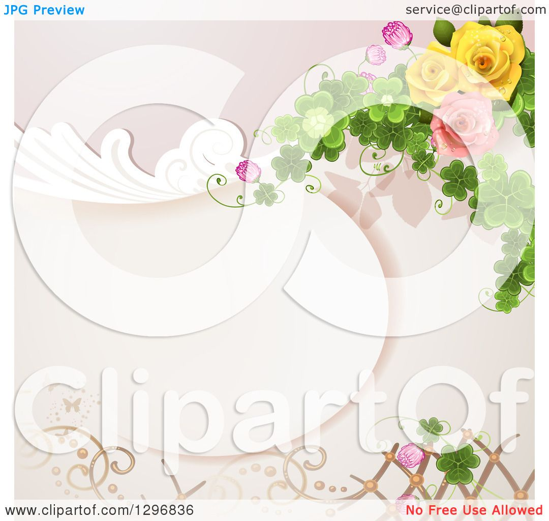 Clipart Of A Floral Rose Wedding Background With Swirls Shamrocks