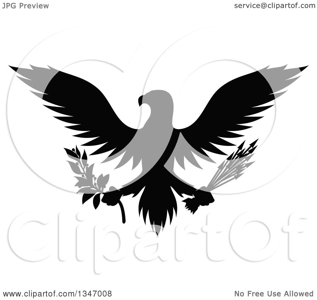 Clipart of a Flying Black Silhouetted