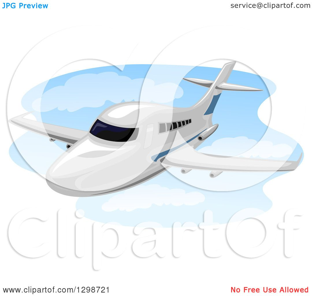 Clipart of a Flying Chartered Plane - Royalty Free Vector ...