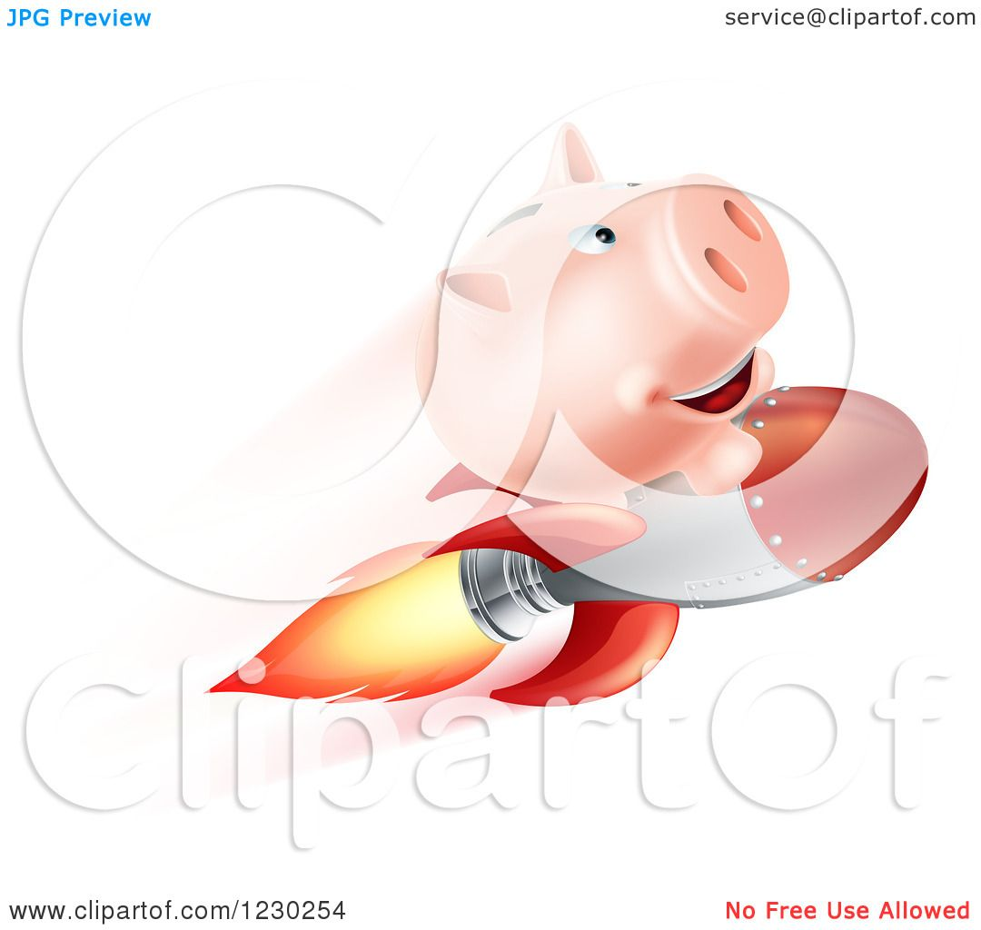Clipart of a flying piggy bank on a rocket royalty free vector illustration by geo images 1230254 - Rocket piggy bank ...