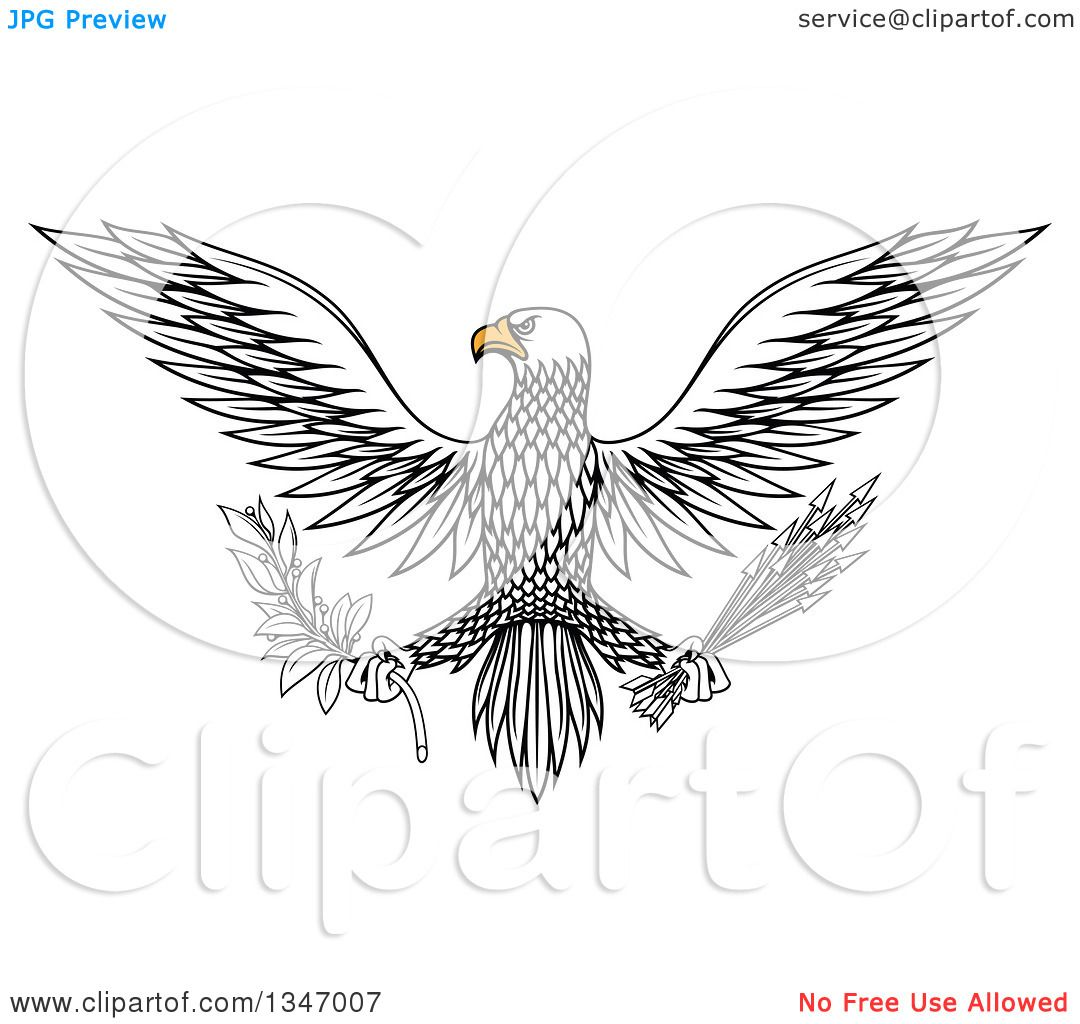 Clipart of a Flying White Eagle Holding a Peace Olive ...