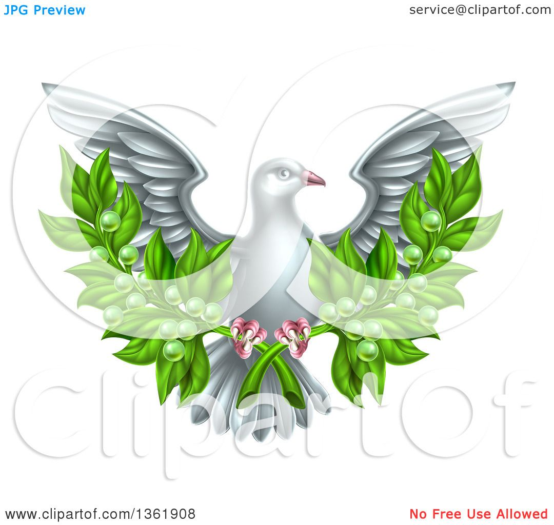 clipart of a flying white peace dove holding crossed olive branches royalty free vector illustration by atstockillustration