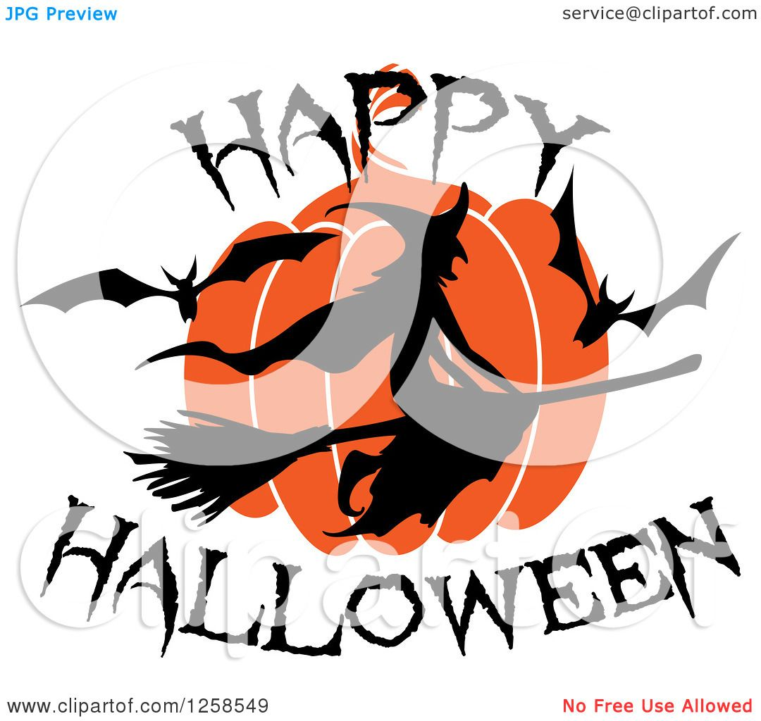 Clipart of a Flying Witch with Happy Halloween Text ...