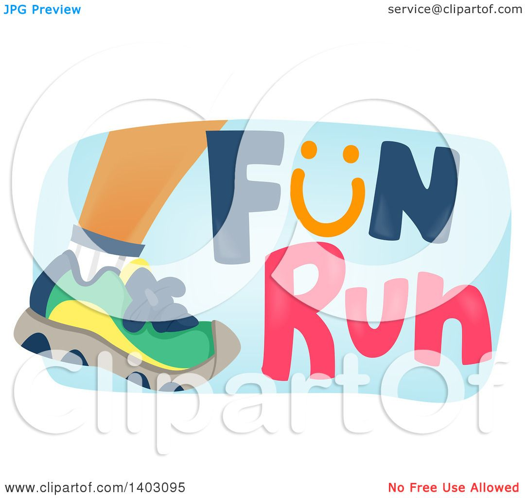Clipart of a foot of a runner with fun run text royalty - Clipart illustration ...