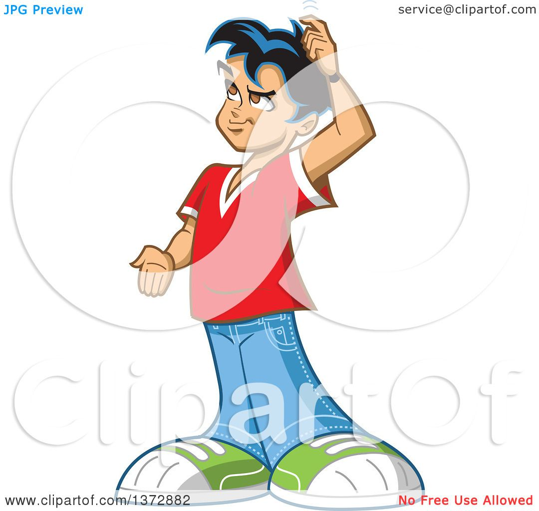 Clipart Of A Forgetful Young Man Trying to Remember ...