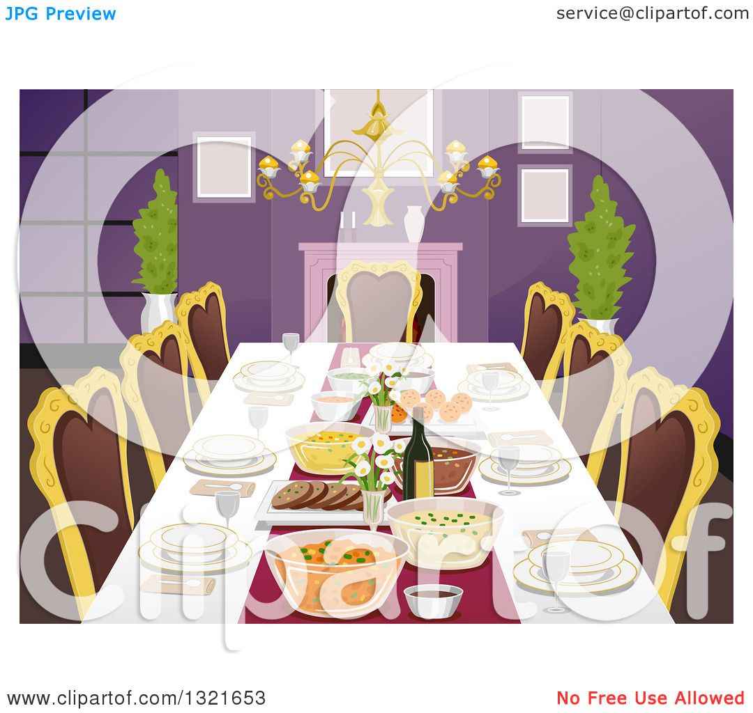 clipart of a formal dining room table with place settings and