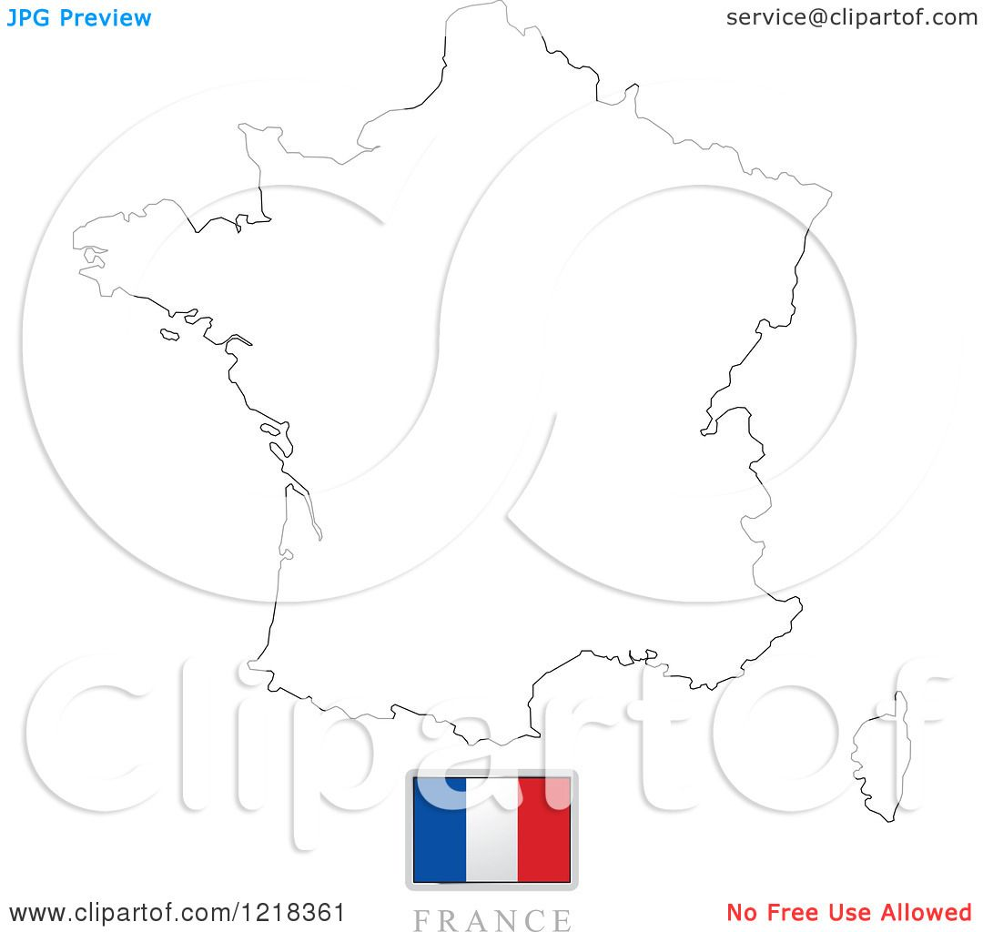 clipart of a france flag and map outline royalty free vector