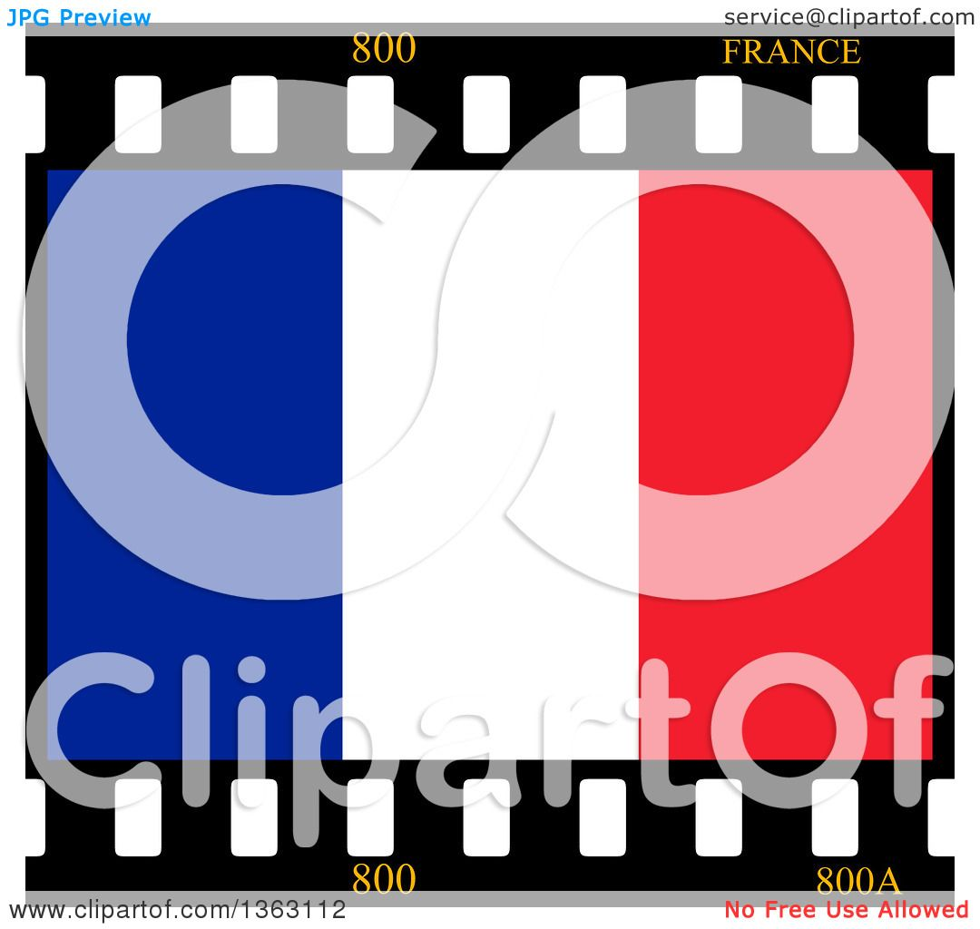 clipart of a french flag film frame royalty free illustration by