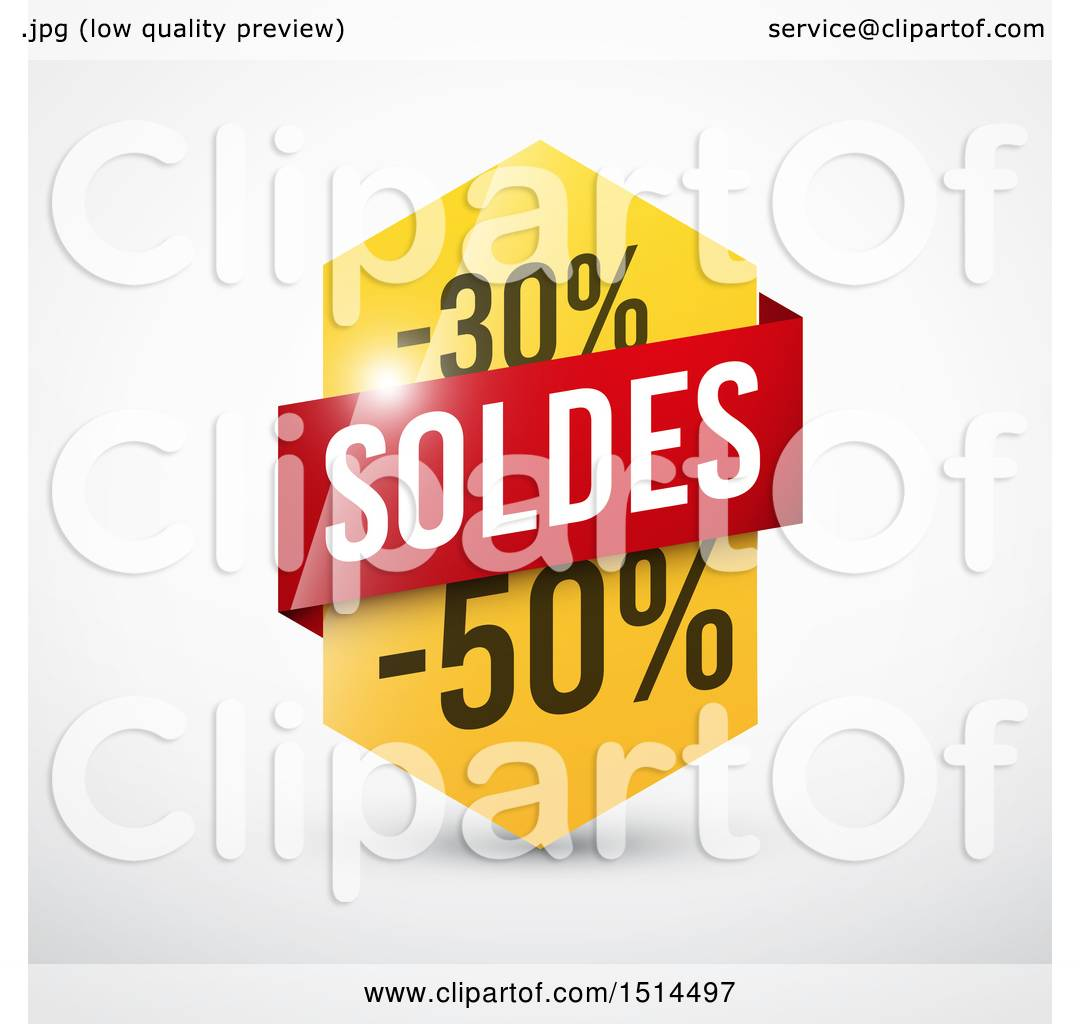 Clipart Of A French Sales Design With 30 And 50 Percent Off