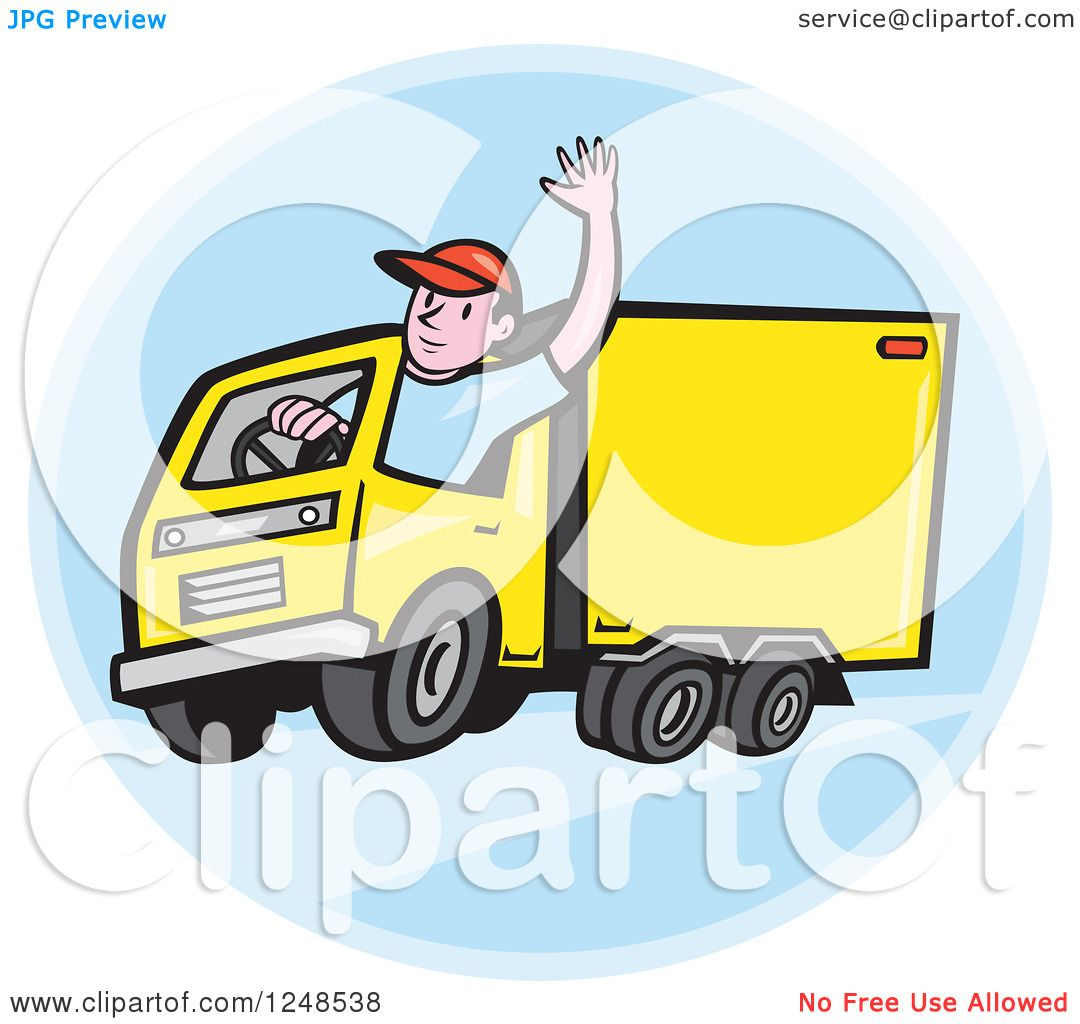 Clipart Of A Friendly Cartoon Delivery Truck Driver Waving