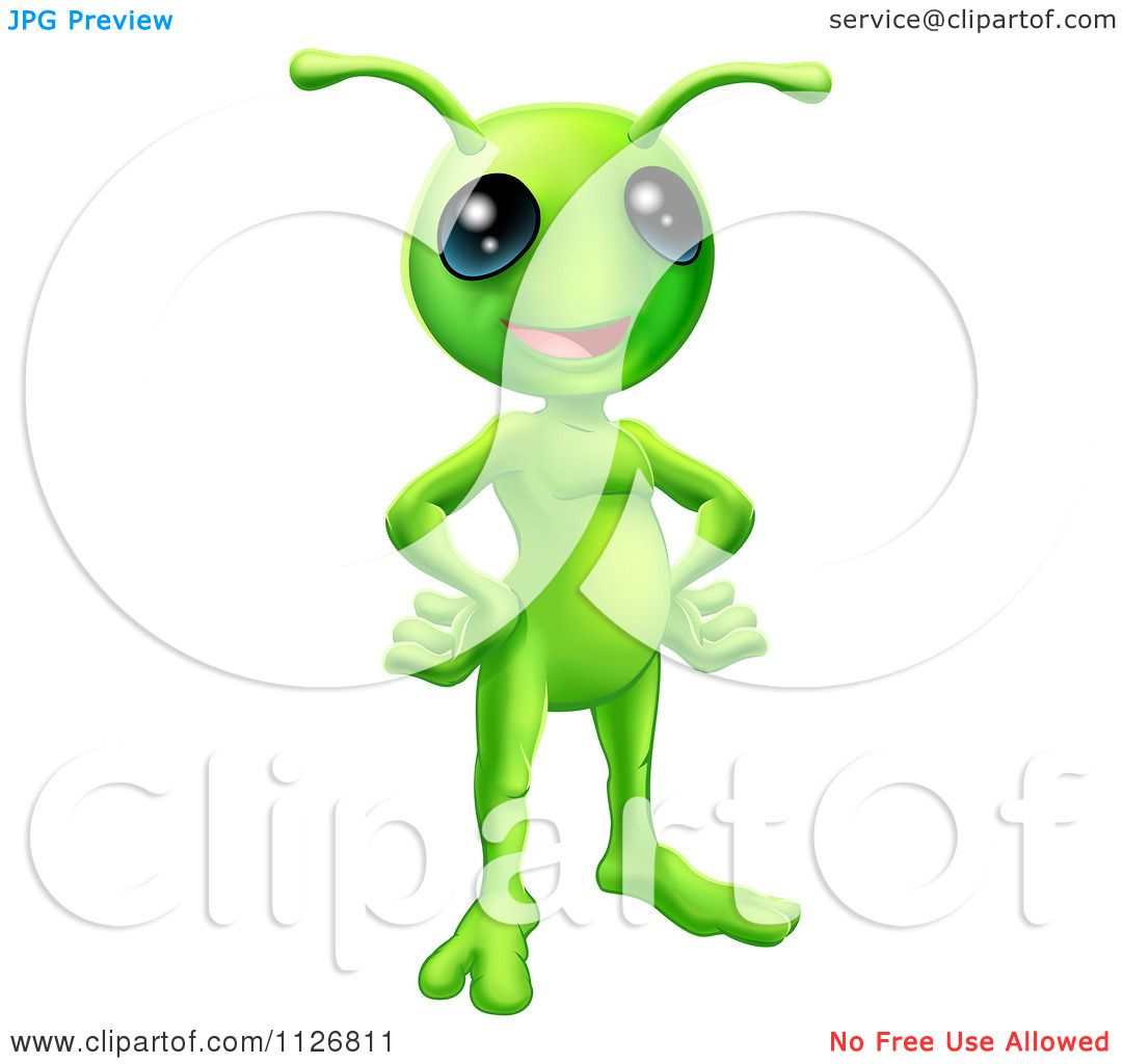 Green Alien Clipart Clipart of a friendly green