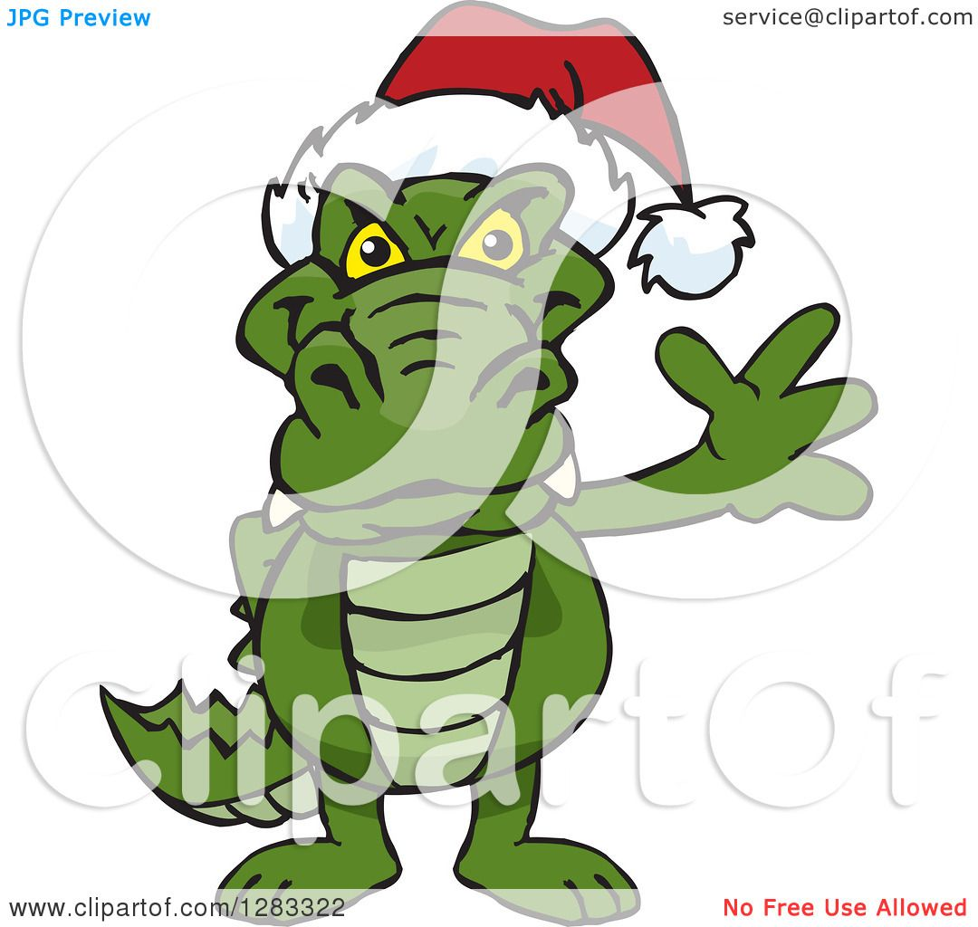 Clipart of a Friendly Waving Alligator Wearing a Christmas Santa ...