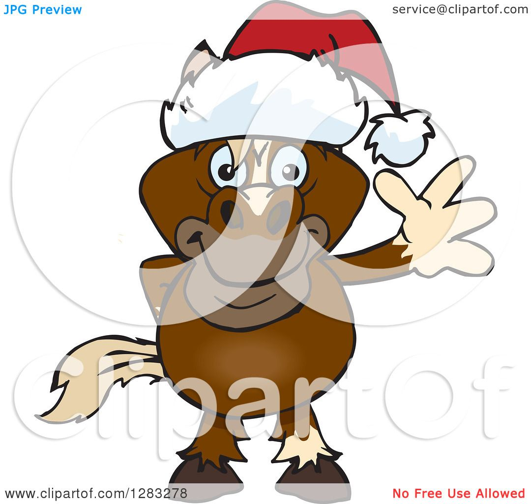Clipart of a Friendly Waving Brown Horse Wearing a Christmas Santa ...