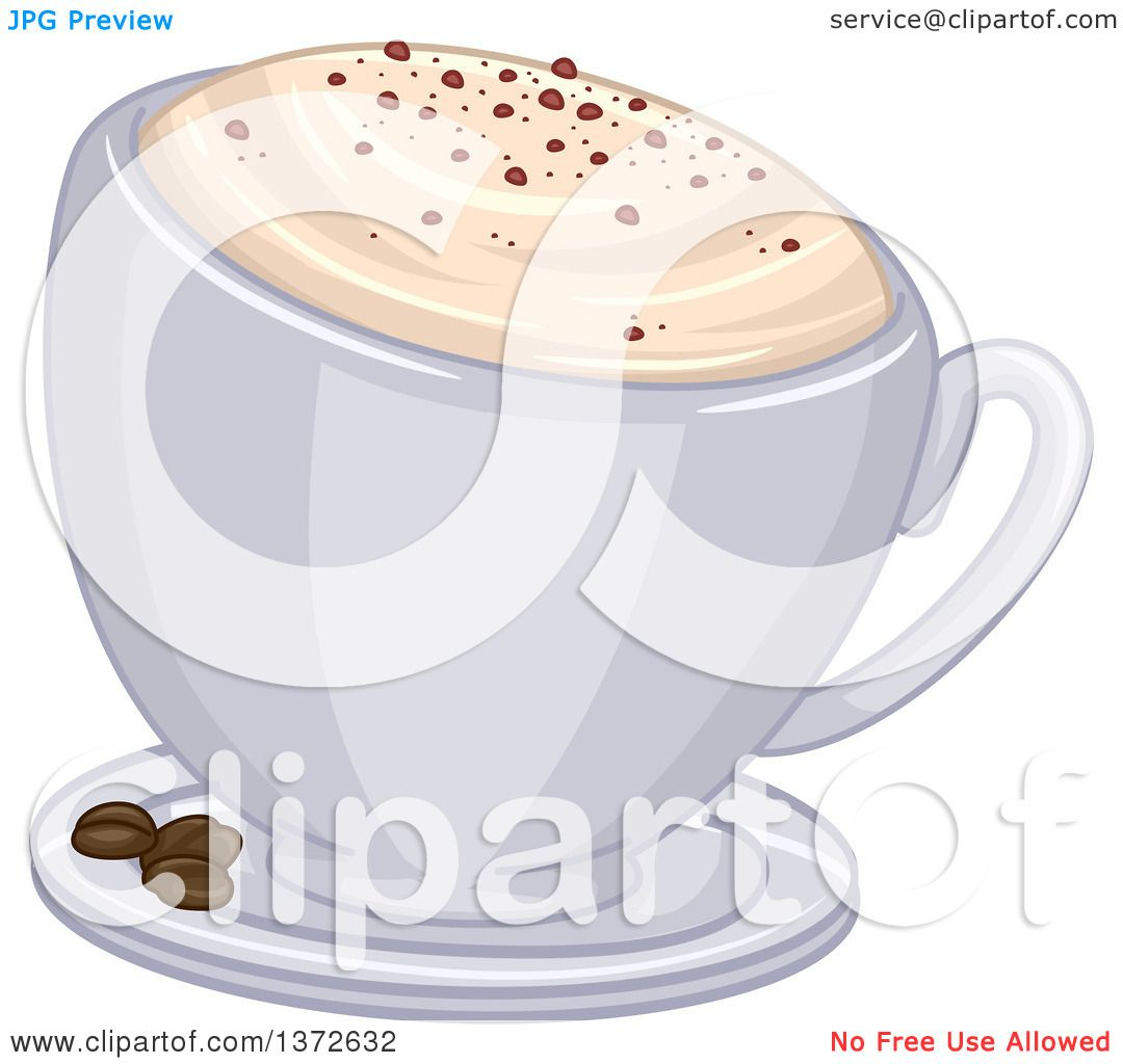 Clipart of a Frothy Cup of Cappuccino Coffee and Beans on a Saucer ...