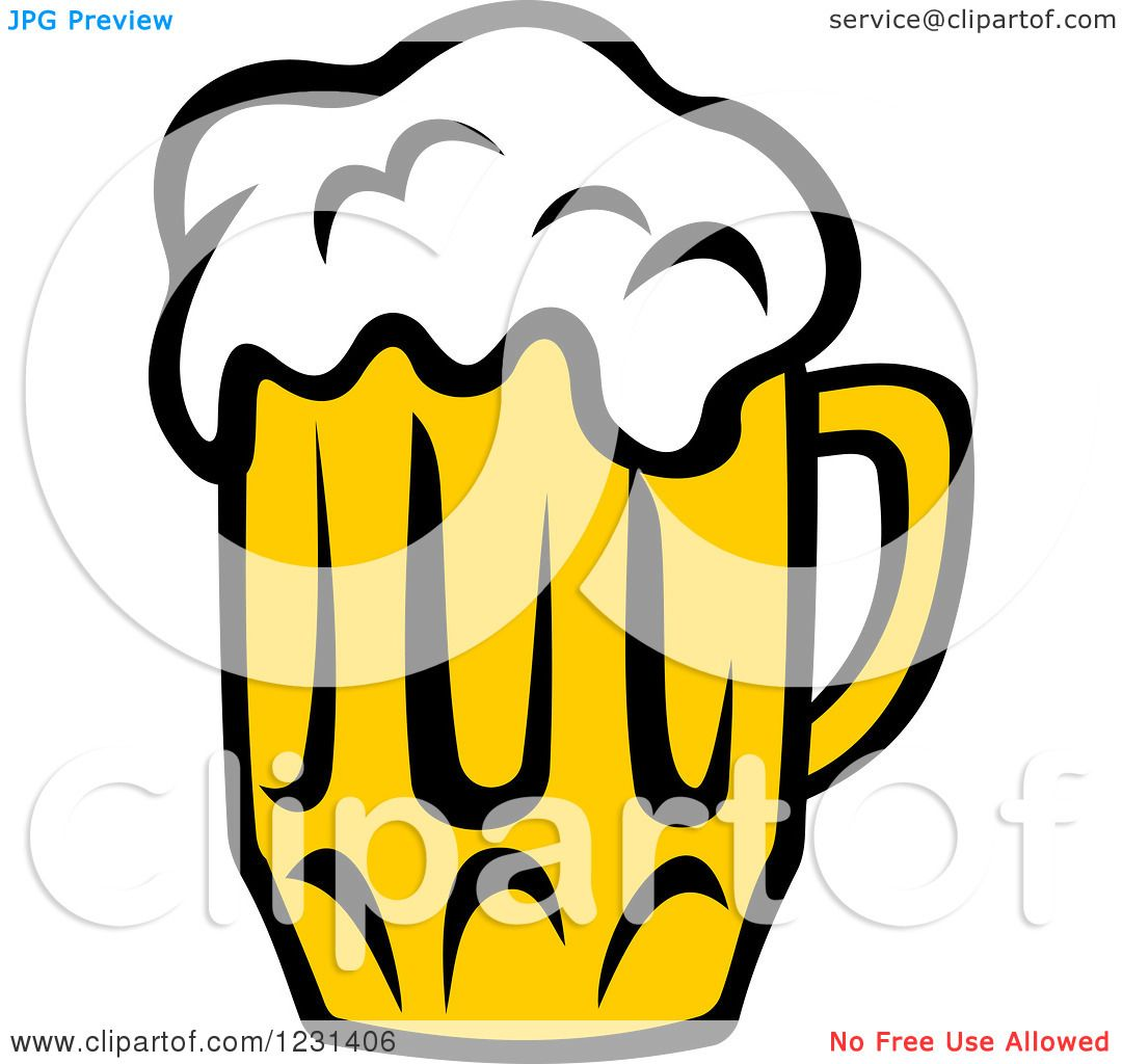 Clipart of a Frothy Mug of Beer 9 - Royalty Free Vector ...