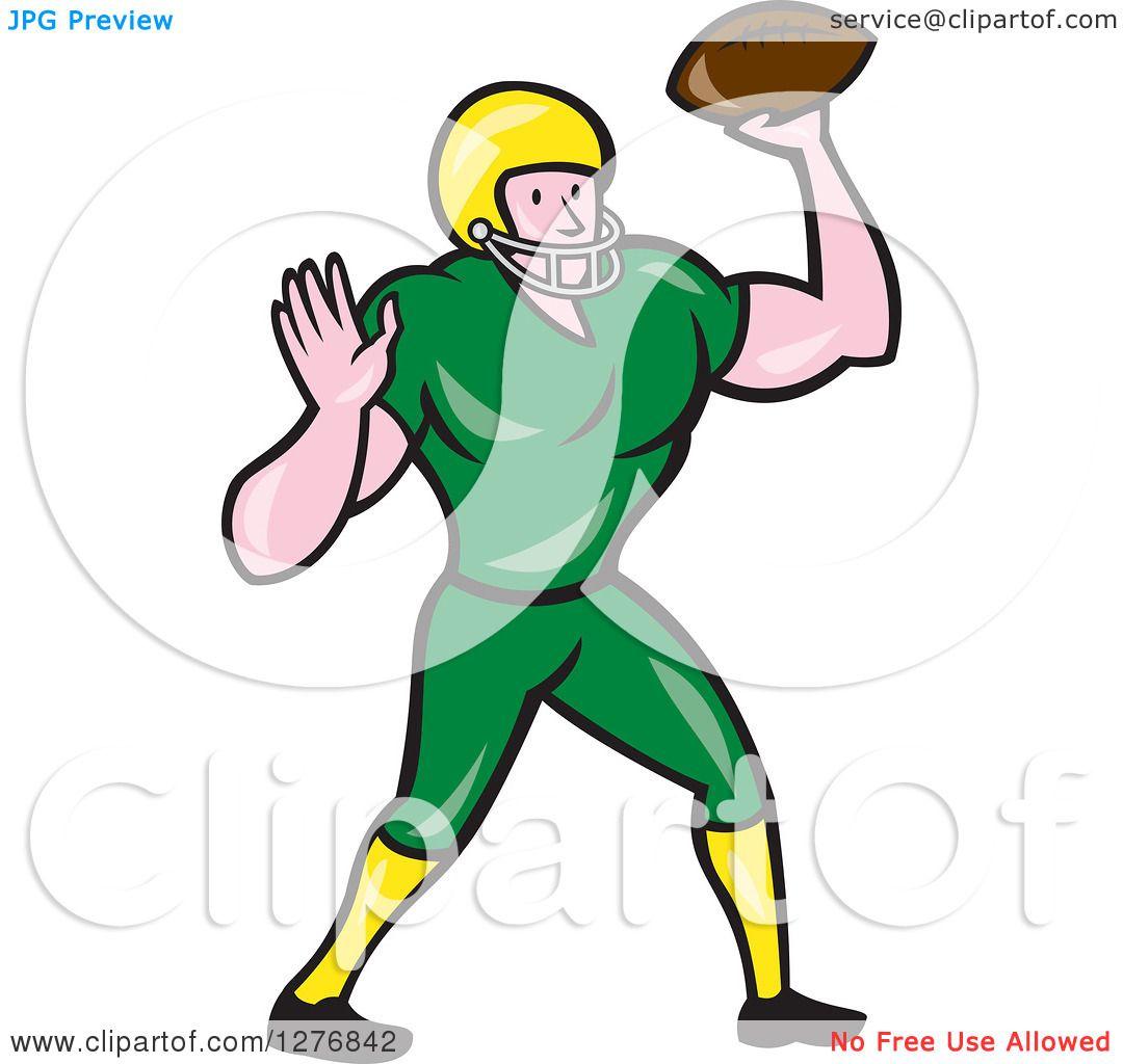 Clipart of a Full Length Cartoon Male Caucasian Football