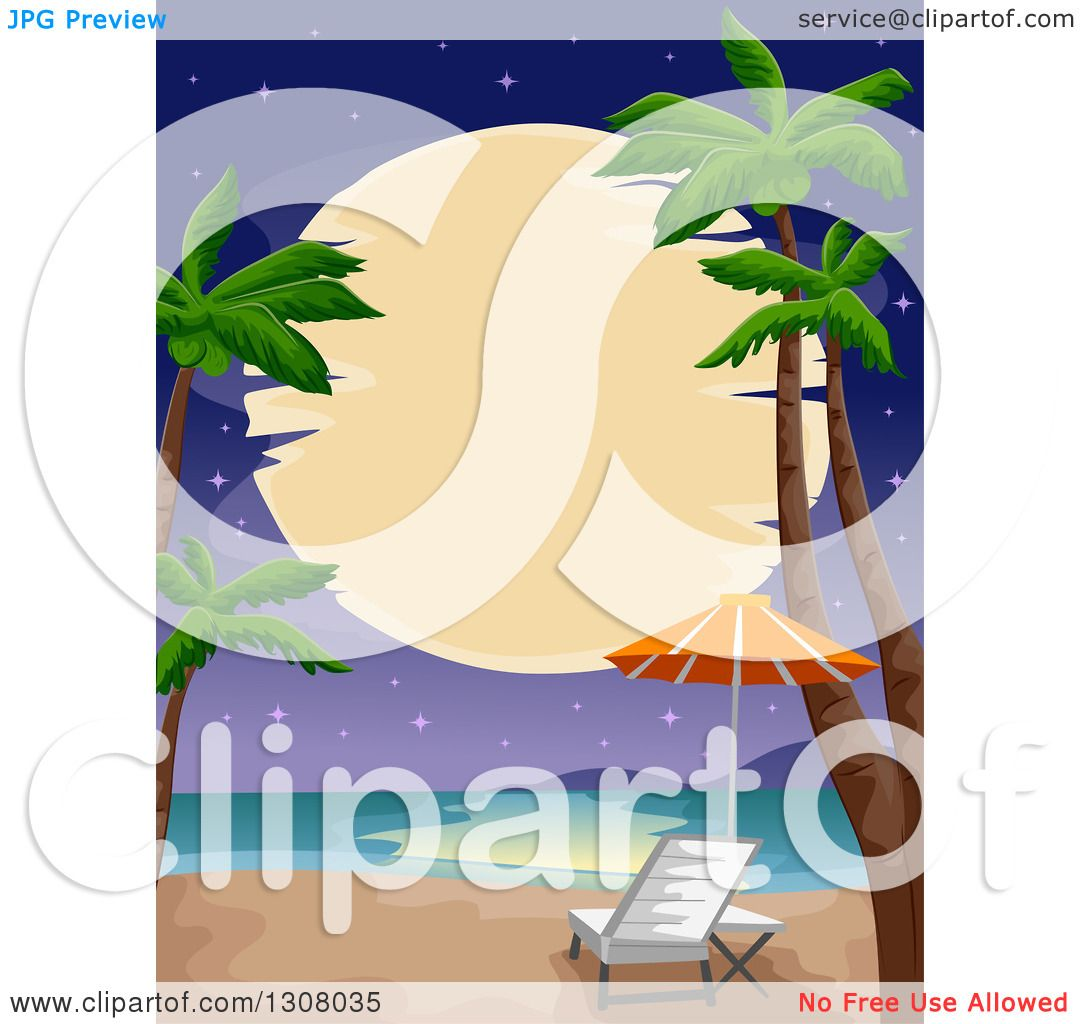 Clipart of a Full Moon over a Tropical