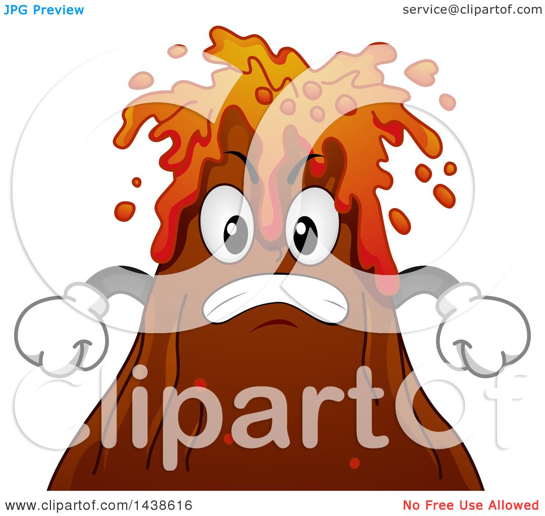 Clipart of a Furious Volcano Mascot Spewing Lava - Royalty Free ...